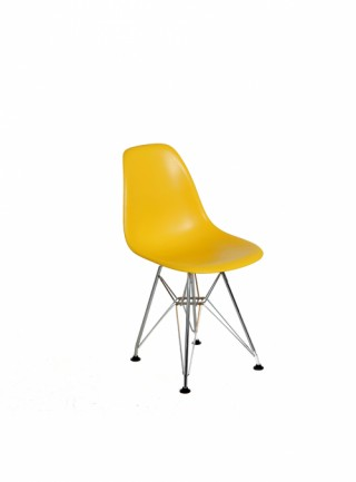 Silla Berlín Kids Sin Descansabrazos Color Amarillo Pata Metal